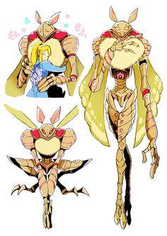 Samus hugging a luminoth Metroid Samus, Samus Aran, Weird Creatures, Fantasy Creatures, Character Concept, Character Art, Fanart, Creature Concept, Video Game Art
