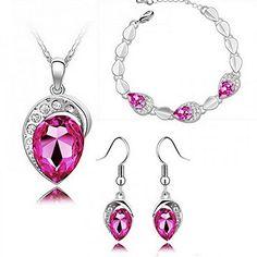 HSG Elegante Form Braut Koeniglichen Austira Kristallschmucksets Anhaenger Halskette Armband Ohrringe - http://schmuckhaus.online/hsg/hsg-elegante-form-braut-koeniglichen-austira