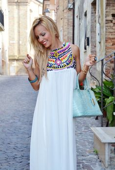 #aquamarine leather ARCADIA bag and #sheinside #maxidress + #smile and #blondehair during #summer