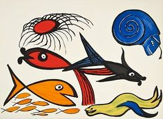 """""""Sea Creatures II"""", 1975  Color lithograph    22 x 30 in  56 x 76 cm Limited-edition of 175 numbered in pencil lower left Hand-signed """"Calder"""" in pencil lower right corner"""