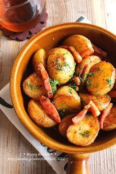 新じゃがと厚切りベーコンのガーリックマヨホットサラダ*たまごボーロについて考える | たっきーママ オフィシャルブログ「たっきーママ@Happy Kitchen」Powered by Ameba Good Food, Yummy Food, Tasty, Potato Recipes, Potato Salad, Side Dishes, Food Porn, Food And Drink, Potatoes