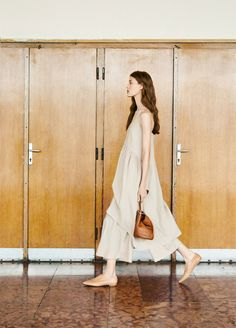 sandy colored long smock dress with pants. / sfgirlbybay