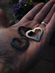 Hand forged heart pendants. #handforged #pendant