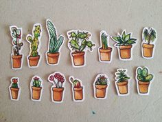 Pre-order: Potter friends/ cactus/ plant stickers by theshelljar