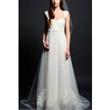 Empire Lace Bodice Straps Tulle With Lace Appliques Bridal Gown - $270.00