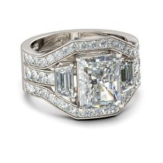 3PC Parallel Emerald Cut Created White Sapphire Rhodium Plating Sterling Silver Women's Engagement Ring/Bridal Ring Set
