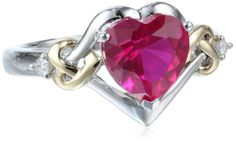 HOT LOVE XPY Sterling Silver and 14k Yellow Gold Diamond and Heart-Shaped Created Ruby Ring (0.03 cttw, I-J Color, I3 Clarity):  | RED JEWELRY HERE: http://www.pinterest.com/FPdiva/%2B-jewelry-red/
