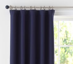 """sailcloth panel, 84"""" $69 per panel with blackout lining - comes in light blue, navy and white"""