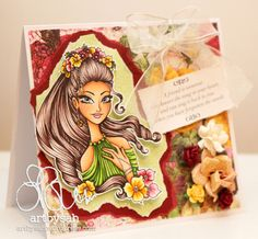flower fairy angle 1 w Copic, Card Ideas, Fairy, Paper Crafts, Disney Princess, Disney Characters, Sweet, Flowers, Cards