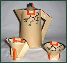 """Clarice Cliff - """"Ravel"""" pattern on conical shape coffee pot, sugar and cream  Wikipedia, the free encyclopedia"""