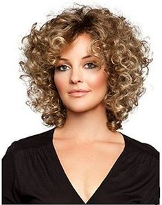 Beauty Salon Hair Western Sexy Lady Shoulder Length Light Brown Curly Party Hair Wig ST03