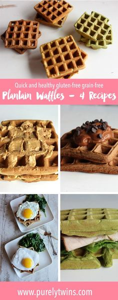 Looking for gluten-free grain-free recipes that are nut free? Here are 4 easy to make and healthy waffles recipes using no flour. These waffles are made from plantains, eggs and coconut oil. No almond flour! for these paleo waffle recipe. Gluten Free Recipes For Breakfast, Gluten Free Breakfasts, Paleo Breakfast, Breakfast Waffles, Breakfast Ideas, Waffle Recipes, Paleo Recipes, Real Food Recipes, Pancakes Easy