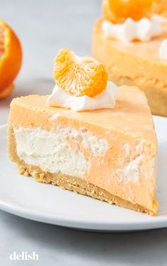 This NoBake Cheesecake Tastes Exactly Like A Creamsicle! is part of Cheesecake desserts - This nobake Creamsicle Cheesecake from Delish com is perfect for hot summer days Brownie Desserts, Cheesecake Desserts, Mini Desserts, No Bake Desserts, Easy Desserts, Delicious Desserts, Dessert Recipes, Homemade Desserts, Summer Cheesecake
