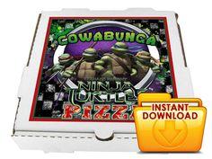 TMNT Teenage Mutant Ninja Turtles #1 Birthday Party Printable Pizza Box Label - custom diy printable on Etsy, $4.00