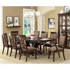 Furniture of America Woodburly 9-Piece Dining Set with Leaf - Overstock™ Shopping - Big Discounts on Furniture of America Dining Sets