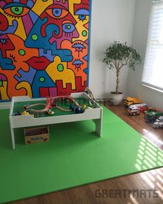 """""""Here are the great mats happily in use at our new home in Chatham NJ! Green mats in our son's play room"""" Sharyn Chatham, NJ"""