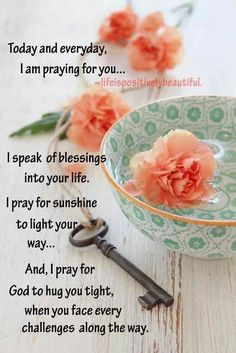Today & everyday I am praying for you . I speak of blessings into your life. I pray for sunshine to light your way . And, I pray for God to hug you tight, when you face every challenges along the way. Good Morning God Quotes, Good Morning Prayer, Good Morning Inspirational Quotes, Morning Greetings Quotes, Inspirational Prayers, Morning Blessings, Good Morning Messages, Morning Prayers, Morning Wish