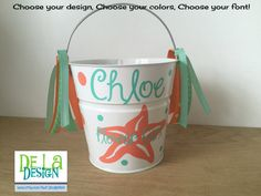 Personalized Flower Girl basket, 2 quart metal bucket, Beach wedding, starfish design, Easter, baby gift or trick or treat bucket