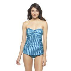 Bandeau Swim Dress Dot Print One Piece Swimsuit- Clean Water