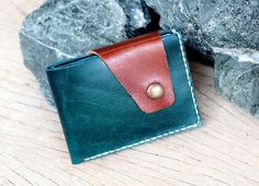 Mixza teal-brown leather wallet by SakatanLeather on Etsy