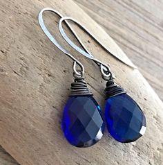 Min Favorit Kyanite Blue Hydroquartz Briolette & Ox Silver Artisan Wrap Earring  #minfavorit #DropDangle