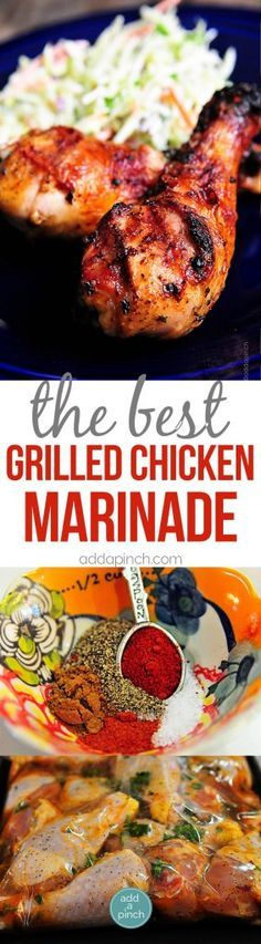 Best Grilled Chicken Marinade Recipe - Grilled Chicken recipes are always a crowd-pleaser. This easy grilled chicken marinade recipe will become a favorite! from /addapinch/ (Chicken Marinade Recipes) Best Grilled Chicken Marinade, Chicken Marinade Recipes, Chicken Marinades, Grilling Recipes, Cooking Recipes, Barbeque Chicken Recipes, Healthy Grilling, Chicken Drumstick Marinade, Grilled Chicken Drumsticks