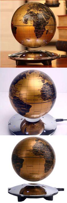 globes 36023 ufo shape 8 led maglev magnetic levitating floating world map globe