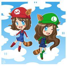 Mario and Luigi tanooki sisters