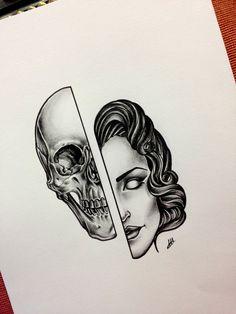 #sketch #sketchtattoo #tattoosketch #tattoo #skull #woman #newtraditional…