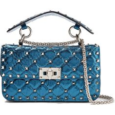 Valentino Rockstud Spike small quilted metallic leather shoulder bag ($1,915) ❤ liked on Polyvore featuring bags, handbags, shoulder bags, cobalt blue, leather purses, valentino shoulder bag, leather shoulder bag, quilted leather handbags and leather handbags