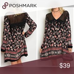 LAST 1! Black/Burgundy Lace detail stunning dress Long sleeve multi color and multi print swing dress with a v neckline. Dresses