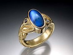 Blue Moonstone Ring with Sapphires: Conni Mainne: Gold & Stone Ring | Artful Home