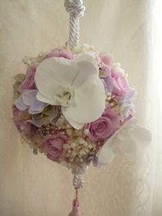 お好きな色でカラーセレクト!バラと胡蝶蘭のプリザーブドフラワーの和装用ボールブーケ