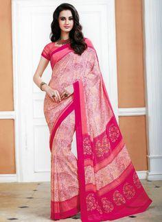 Modish Crepe Silk Print Work Casual Saree