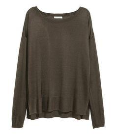 Fine-knit jumper | Dark khaki green | Ladies | H&M CY