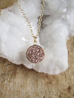 Rose Gold Druzy Necklace Titanium Drusy Quartz by julianneblumlo, $58.00
