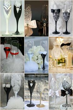 Cute idea for bride and groom champagne glasses!
