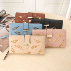 8df996c3473f Long hollow leaf women wallet lady pu leather purse brand HASP and zipper  coin purse fashion girl card holders