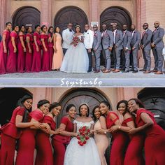 Image may contain: 25 people Burgundy And Grey Wedding, Red Wedding, Wedding Suits, Wedding Attire, African Bridesmaid Dresses, Bridesmaid Dress Colors, Wedding Photography Poses, Wedding Poses, Bridesmaids And Groomsmen