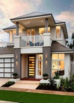 Best Modern Home Architectural Styles and Designs. Find out what style of home you like best.Leave a comment and see what other people like.Most people like several home architectural styles. Modern Exterior House Designs, Design Exterior, Dream House Exterior, Modern House Plans, Modern House Design, Exterior Houses, 2 Storey House Design, Bungalow House Design, House Front Design