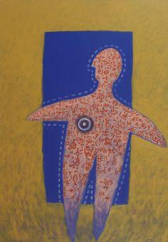 Título: El Descanso   Autor: Alvaro Galindo Vácha   Dimensiones: 100 x 70 cm   Técnica: Acrílico sobre tela   Año: 2004   Firmado: Frente y revés