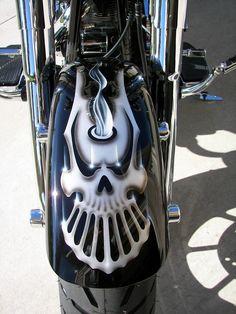 Hubby's Harley-Davidson Fatboy Skull Train Custom Pain Job