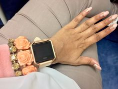 Beige and Rose Gold Fitbit Blaze