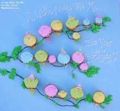 """A Little Birdie Told Me... ""~  Sweet bird cupcake idea from MyCakeSchool.com's blog tutorial."