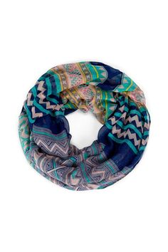Women's Navy Polyester Printed Infinity Tribal Scarf by Sole Society Fashion Accessories, Hair Accessories, Cute Scarfs, Circle Scarf, Loop Scarf, How To Wear Scarves, Fashion Outfits, Womens Fashion, Teen Fashion