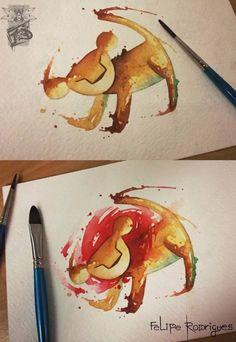 The Lion King watercolor tattoo. Felipe Rodrigues - Tattoo You, São Paulo, Brazil