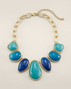 This bib statement necklace is a perfect summer accessory.  The sea-hued stones against the gold finished setting make a fabulous finishing touch for any outfit. (via @A Whole Lotta Love Chico's www.chicos.com)