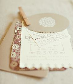 Combination of different papers for a Bridal Shower Invitation - pattern, off white and craft paper.