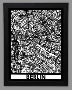 Berlin Laser Cut Map 18x24 Framed City Map City Wall by CutMaps