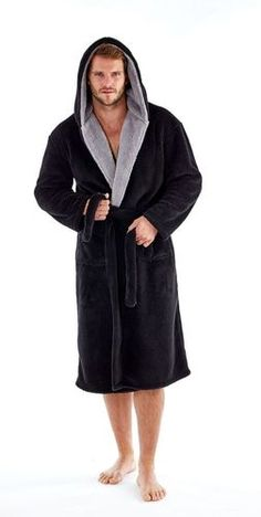 f24511cb88 Mens Contrast Trim Polar Fleece Hooded Bath Robe  Black